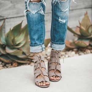 Shoes - Cut Out Lace Up Booties